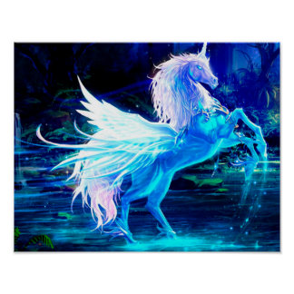 Unicorn Forest Stars Cristal Blue Poster