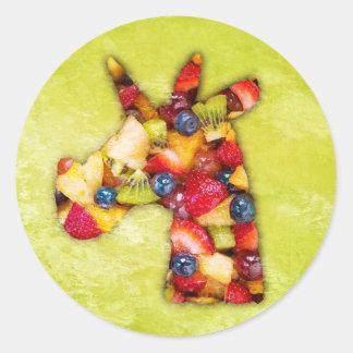 Unicorn Fruit Salad Classic Round Sticker
