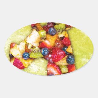 Unicorn Fruit Salad Oval Sticker