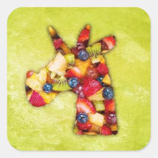 Unicorn Fruit Salad Square Sticker