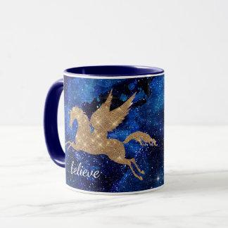 Unicorn Galaxy Stars Blue Sky Believe Mug
