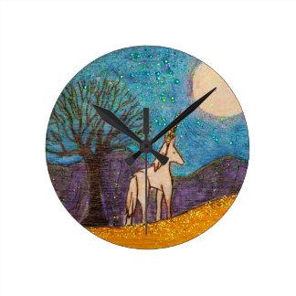 Unicorn Gazing at the Moon Round Clock