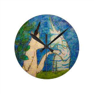 Unicorn Gazing in Reflection Round Clock