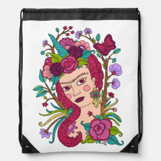 Unicorn girl drawstring bag