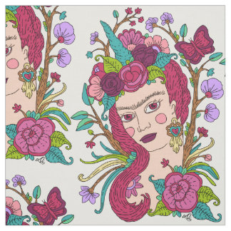 Unicorn girl fabric