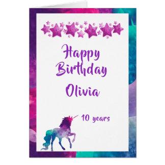 Unicorn girly pink purple stars 10th birthday card