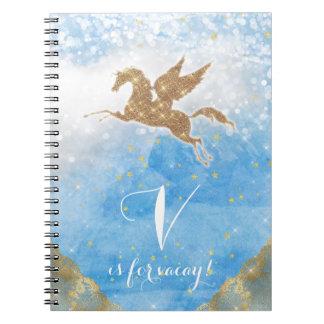 Unicorn Glitter Gold Blue Sky Clouds Star Letter V Notebooks