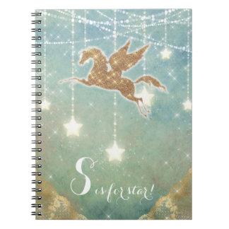 Unicorn Glitter Gold Light Stars Letter S Star Notebook