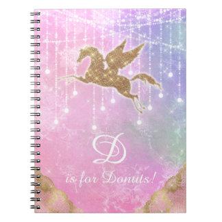 Unicorn Glitter Gold Lights Pink Purple Letter D Spiral Notebook