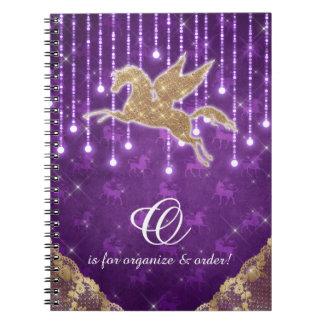Unicorn Glitter Gold Lights Purple Letter O Spiral Notebook