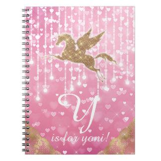 Unicorn Glitter Gold Pink Heart Lights Letter Y Spiral Notebook