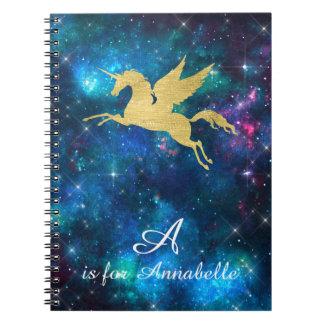 Unicorn Gold Indigo Black Cosmic Star Letter A Spiral Notebook