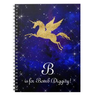 Unicorn Gold Indigo Black Cosmic Star Letter B Spiral Notebook