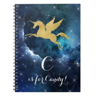 Unicorn Gold Indigo Black Cosmic Star Letter C Spiral Notebook