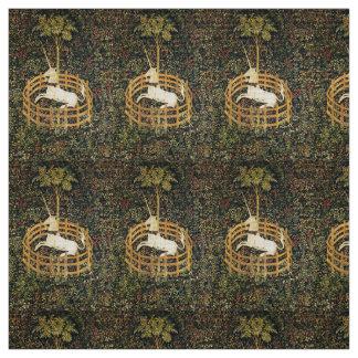 UNICORN GOTHIC FANTASY FLOWERS,FLORAL MOTIFS Green Fabric