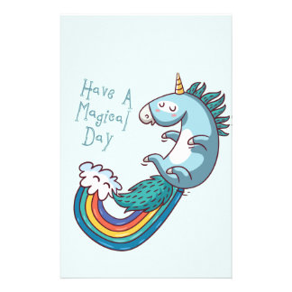 "Unicorn ""Have a Magical day"" Personalized Stationery"