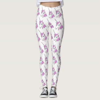 Unicorn Head Fantasy Pattern Custom Style Leggings