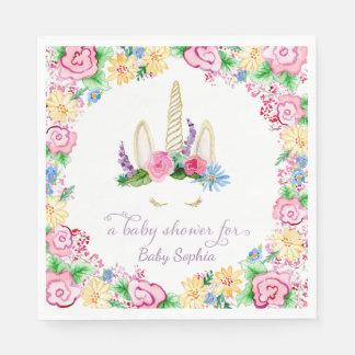 Unicorn Horn BOHO Floral Crown Baby Girl Shower Paper Napkin