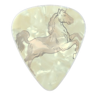 Unicorn Horn Palomino Horse Pearl Celluloid Guitar Pick