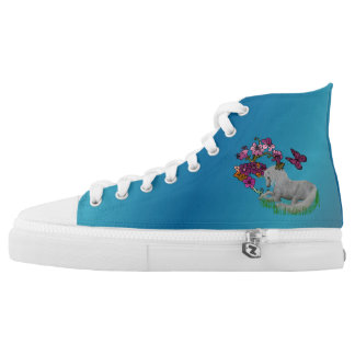 Unicorn Horse Butterflies And Flowers Printed Shoes