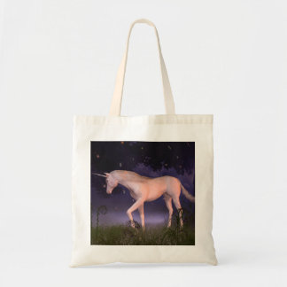 Unicorn in a Misty Forest Glade Tote Bags