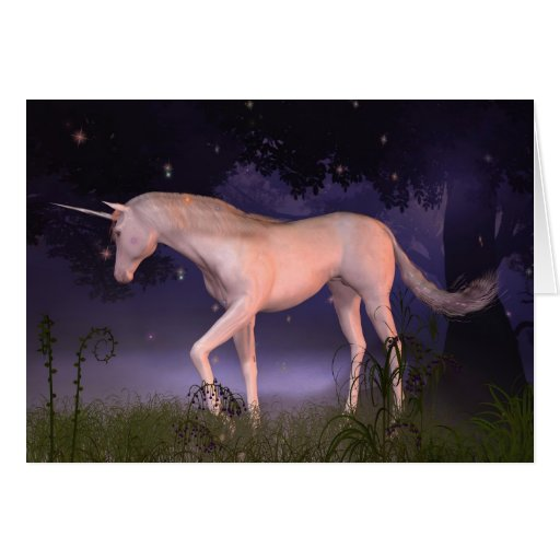 Unicorn in a Misty Forest Glade Cards