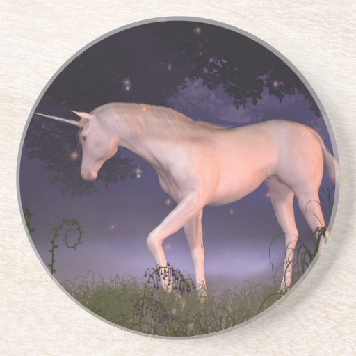 Unicorn in a Misty Forest Glade Coasters