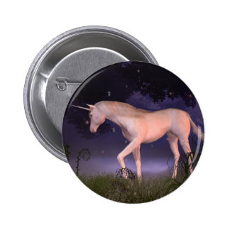 Unicorn in a Misty Forest Glade Pinback Buttons
