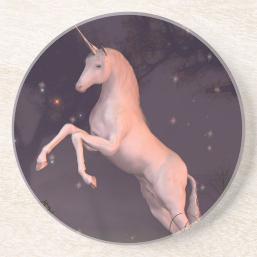Unicorn in a Moonlit Forest Glade Coasters