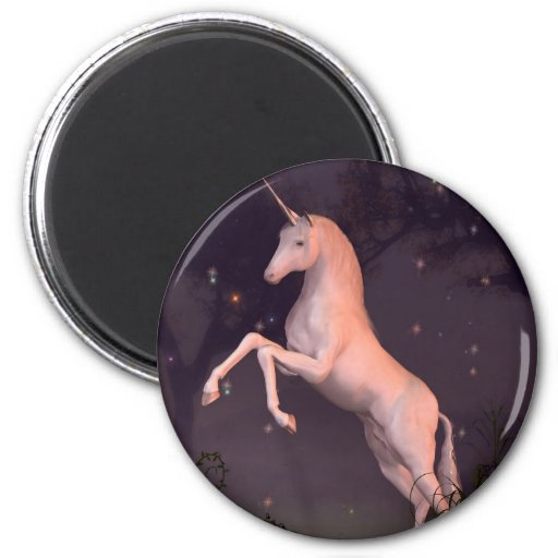 Unicorn in a Moonlit Forest Glade Magnets