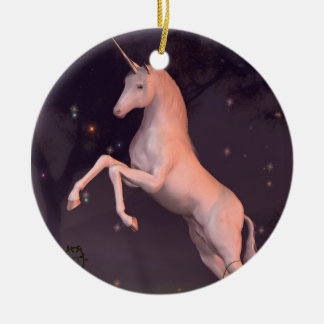 Unicorn in a Moonlit Forest Glade Round Ceramic Decoration