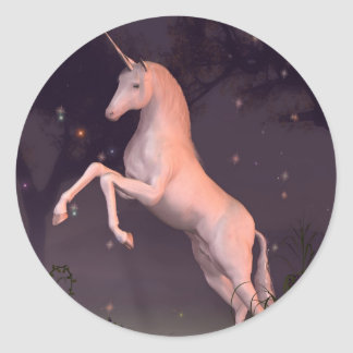 Unicorn in a Moonlit Forest Glade Stickers
