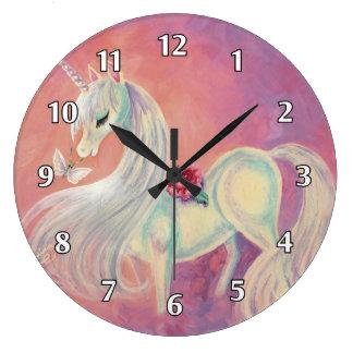 Unicorn In Blush Of Dawn Large Clock