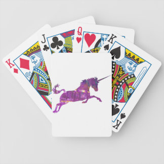 Unicorn in purple bicycle playing cards