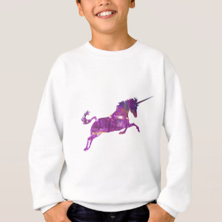 Unicorn in purple sweatshirt
