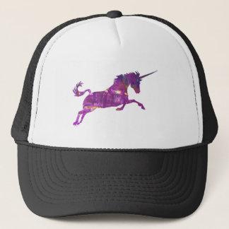 Unicorn in purple trucker hat