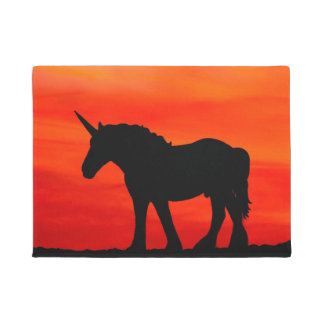 Unicorn In Sunset Door Mat