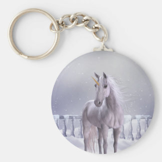Unicorn in the Snow Basic Round Button Key Ring