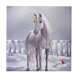Unicorn in the Snow Tile