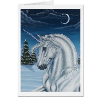 Unicorn in Winter Peace Card