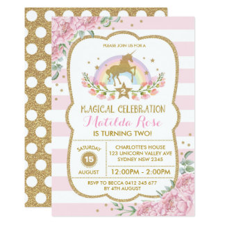 Unicorn Invitation Rainbow Pink Gold Floral Invite