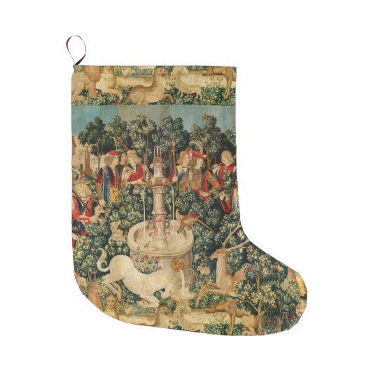 UNICORN IS FOUND / Fountain and Other Animals Large Christmas Stocking