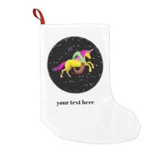 Unicorn Jumping Through a Doughnut Small Christmas Stocking