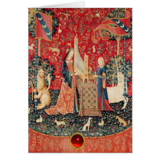 UNICORN,LADY PLAYING ORGAN Red Floral Christmas Card