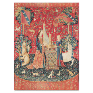 UNICORN,LADY PLAYING ORGAN Red Green Floral Tissue Paper