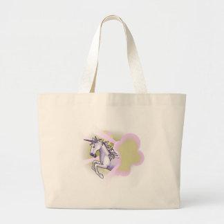 unicorn leaping through sunbeams canvas bag