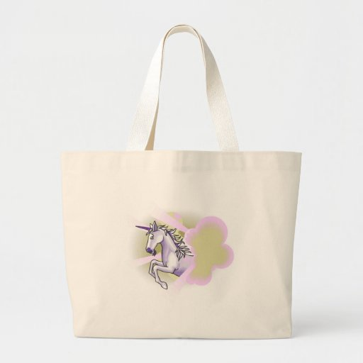 unicorn leaping through sunbeams canvas bag