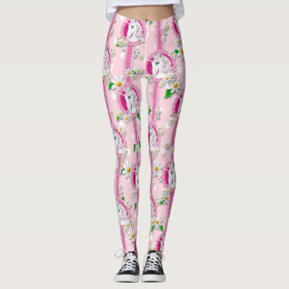 Unicorn Leggings in pink with daisies polka dots