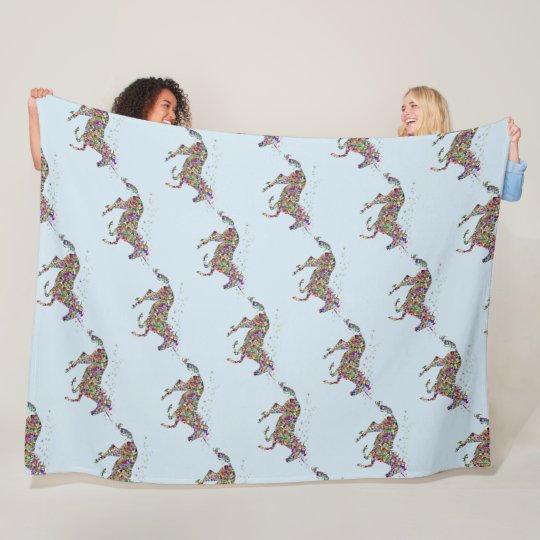 Unicorn Light Blue Fleece Blanket
