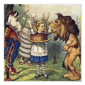 Unicorn Lion and Alice in Wonderland Print